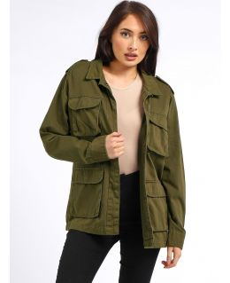 Womens Canvas Utility Jacket, Khaki, UK Sizes 8 to 16