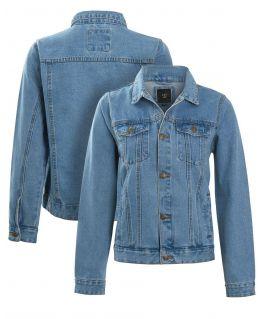 Boys Stonewashed Blue  Denim Jacket with Distressed Detailing