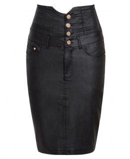 Womens High Waist Wet Look Pencil Skirt, UK Sizes 8 to 16