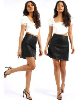 High Waisted PU Faux Leather A-Line Skirt, UK Sizes 8 to 14