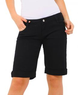 Womens Turn Up Denim Longline Shorts Ladies Comfort Short Size 6 8 10 12 14 16 Black