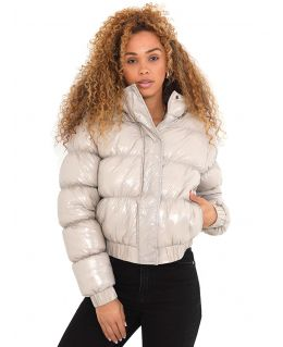 Vinyl Shine Puffer Jacket, Stone, UK Sizes 8 to 16