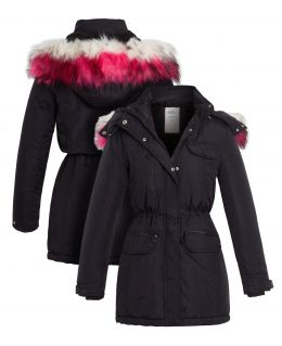 Girls Shower proof Padded Parka Coat with Faux Fur, Ages 3 to 14 Years