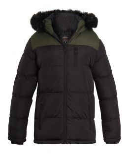 Boys Padded 2 Tone Parka Coat, Ages 7 to 13 Years