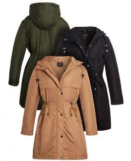 Padded Showerproof Parka Coat, Tan, Black, Khaki, UK Sizes 8 to 16