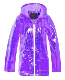 Girls Holographic Rain Mac, Lilac, White, Ages 7 to 13 Years