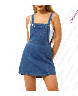 Womens Dungaree Pinafore Dress Denim Skirt Dungarees Size 6 8 10 12 14 Mid Denim Blue