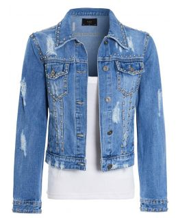 Womens Studded Distressed Denim Jacket, Denim Blue, UK Sizes 8 to 14