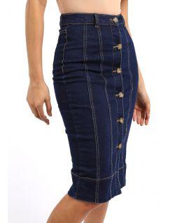 Stretch Denim Button Through Straight Skirt, Indigo, UK Sizes 8 to 14