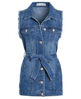 Womens Denim Longline Waistcoat Jacket, UK Sizes 8 to 14