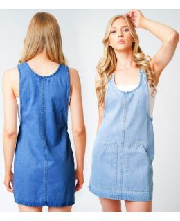 Womens Denim Pinafore Dresses, Sizes 6 to 14