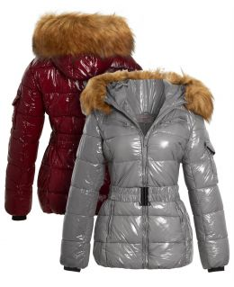 Wet Look Shiny Vinyl Puffer Coat with Faux Fur, UK Sizes 8 to 16