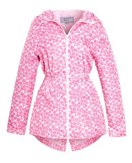 Girls Heart Print Showerproof Raincoat, Pink, Lllac, Ages 5 to 13 Years