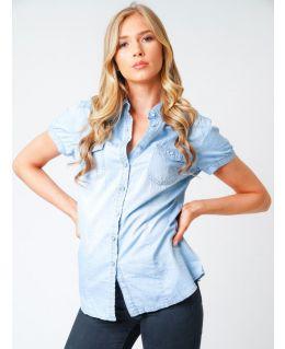 Womens Cap Sleeve Denim Lightweight Shirt, Light Blue, Sizes 8 to 16