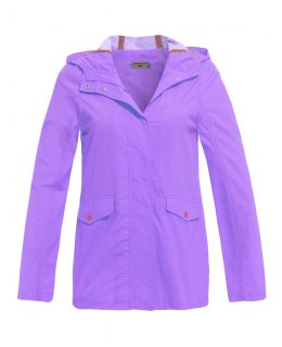 Girls Showerproof Contrast Trim Raincoat Jacket, Lilac, Navy, Ages 7 to 13 Years