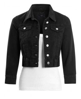 Womens Cropped Denim Jacket with 3/4 Sleeves, Black, UK Sizes 8 to 16