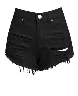 Black Ripped Denim Short