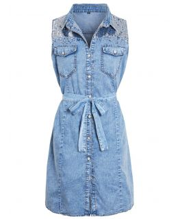 Womens sleeveless Denim Shirt Dress with Sequins, UK Sizes 8 to 16