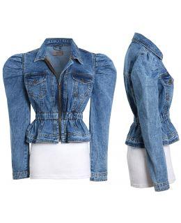 Puff Sleeve denim Jacket with Elasticated Waist, Uk sizes 8 to 16