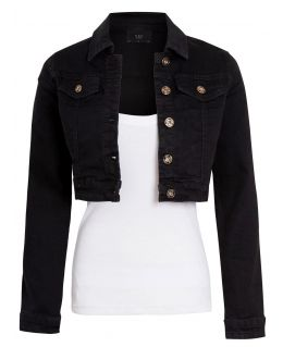 Womens Cropped Stretch Fitted Denim Jacket, Black, UK Sizes 6 to 14