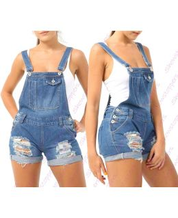 Blue Ripped Dungaree Denim Short
