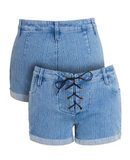 Womens Shoelace tie Low Waist Denim Shorts, UK Sizes 8 to 14