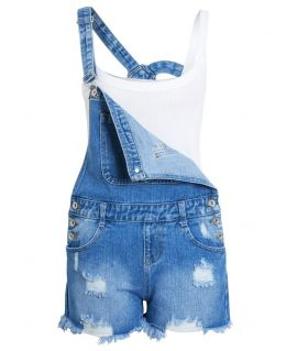Womens Distressed Dungaree Shorts in Denim, Denim Blue, UK sizes 6 to 14