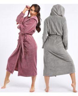 Soft Sherpa Fleece Nightwear Dressing Gown Bathrobe, Rose, Grey, UK sizes 8 to 18