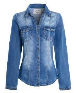 Womens Stonewash Premium Denim Shirt, UK Sizes 8 to 16
