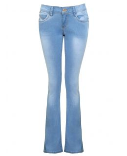 Womens Light Blue Fitted Bootcut Jeans, UK Size 6 to 16