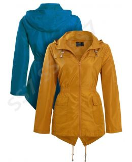 Womens Rain Mac Showerproof Raincoat Jacket Plus Sizes 18 20 22 24 Hooded Coat