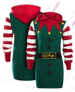 Womens Christmas Jumper Dress Elf Xmas Size 10 to 14 Red Green White