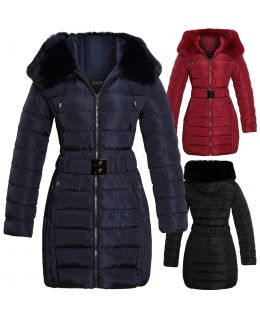 Womens Faux Fur Puffer Parka Coat, Black, Red, Navy, UK Sizes 8 to 16