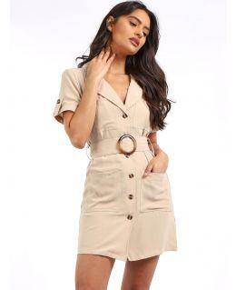 Utility Shirt Dress, Stone, UK Sizes 8 to 14