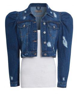 Distressed Puff Sleeve Denim Jacket, UK Sizes 8 to 16