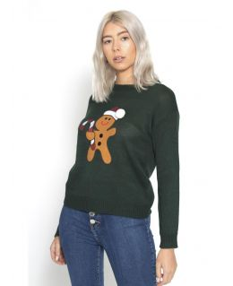 Womens Knitted Christmas Jumper Gingerbread Man, Green, Black, UK Sizes 10 to 16