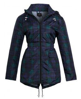 Womens Plus Size Showerproof Raincoat Jacket, Check Blue, UK Sizes 18 to 14