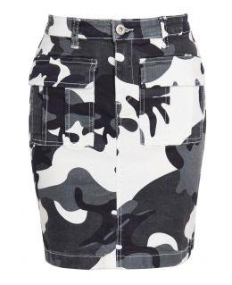 Womens Camouflage Stretch Denim Skirt, UK Sizes 6 to 14