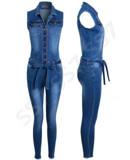 Denim Stretch Jumpsuit, Sizes 6 to 14