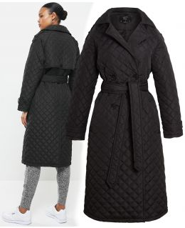 Diamond Quilted Longline Trench Coat, Black, UK Sizes 8 to 16