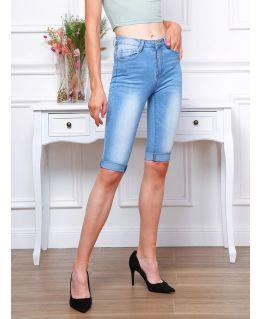 Mid Waist Stretch Denim Long shorts, UK Sizes 6 to 14