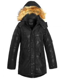 Boys Padded Showerproof Parka Coat, Black, Navy, Ages 3 to 14 Years