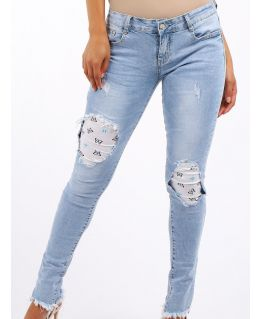 Girls Slim Fit Stretch Denim Blue Jeans with Knee Inserts, Ages 7 to 16 Years