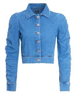 Womens Puff Sleeve Cropped Denim Jacket, UK Sizes 8 to 16