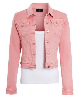 Womens Stretch Denim Jacket Denim Pink & Grey, UK Sizes 6 to 14