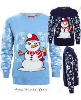 Boys Blue Snowman Christmas Jumper