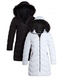 Womens Puffer Coat Mid Length Parka, White, Black, UK Size 8 to 16