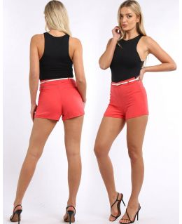 High Waist Belted shorts, Coral, UK Sizes 8 to 14