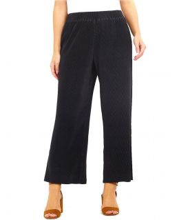 Black Plisse Trouser with Elasticated Waist