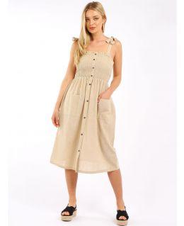 Shirred Bust Lightweight Summer Dresses, Black, White, Beige, UK Sizes to 14
